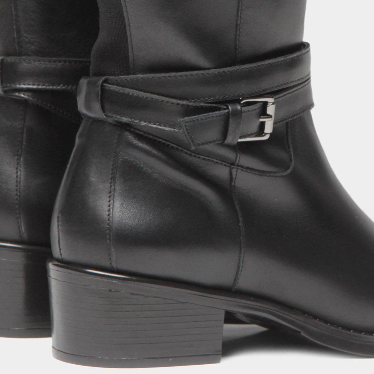 The Feminina Bota Couro Couro Over Preto Knee The Over Bota Fivelas Shoestock gqOvqYwr