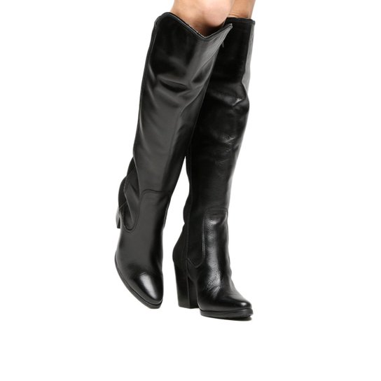 Bota Couro Over the Knee Shoestock Salto Grosso Feminina - Preto