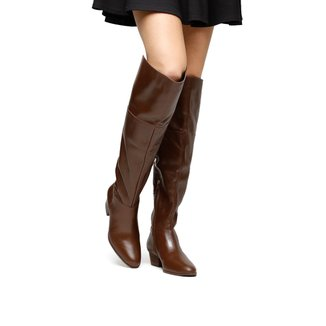 Bota Couro Over the Knee Shoestock Zíper Feminina