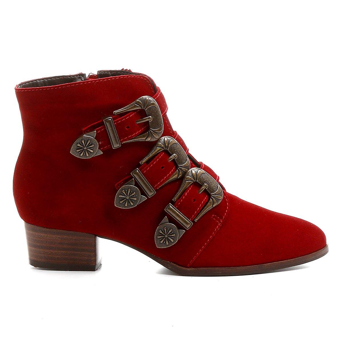 Shoestock Bota Bota Fivelas Couro Curto Feminina Couro Cano 3 Vermelho w7wtO