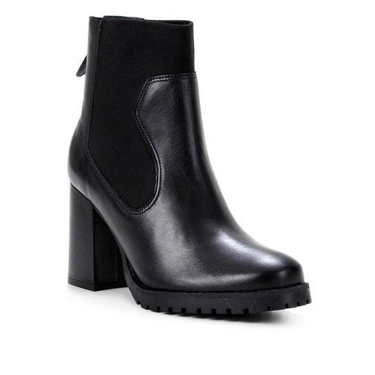 Bota Couro Shoestock Cano Curto Elástico Feminina - Preto