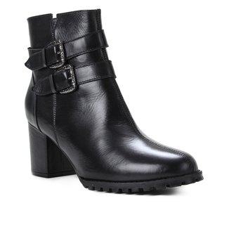 Bota Couro Shoestock Cano Curto Fivelas Feminina