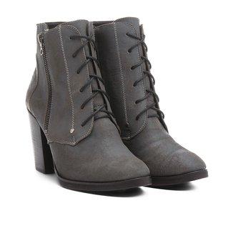 Bota Couro Shoestock Coturno Zíper