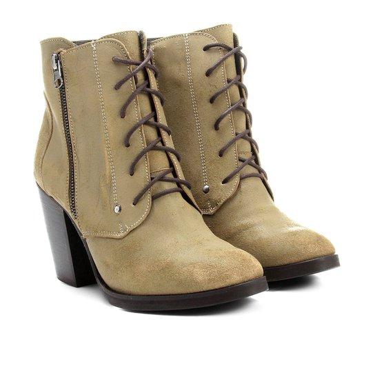 Bota Couro Shoestock Coturno Zíper - Bege