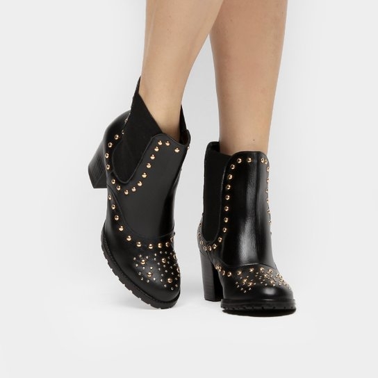 Bota Couro Shoestock Curta Chelsea Feminina - Preto