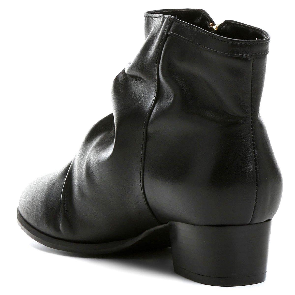 Feminina Enrugada Preto Bota Shoestock Bota Couro Couro Curta Z7YxYp