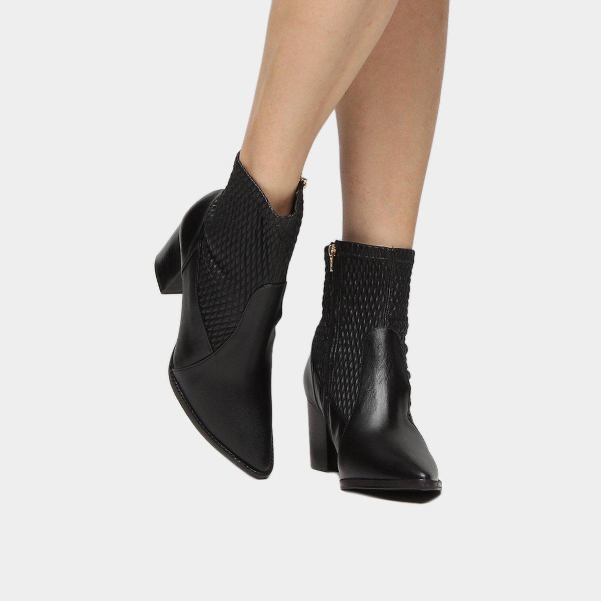 Salto Grosso Couro Shoestock Bota Feminina Colméia Bota Couro Preto Curta wBgfSW4Uxq