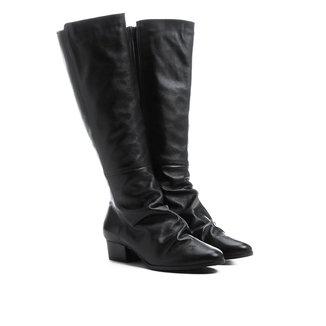 Bota Couro Shoestock Longa Enrugadinha Feminina
