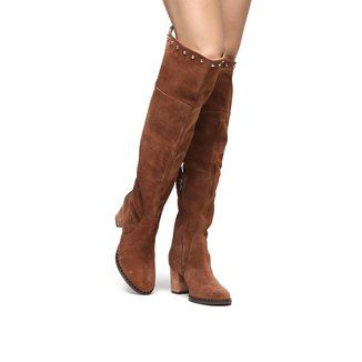 Bota Couro Shoestock Over the Knee Vira Cravos Feminina