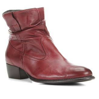 Bota Couro Shoestock Slouch Cano Curto Feminina