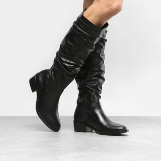 Bota Couro Slouch Shoestock Flat Feminina