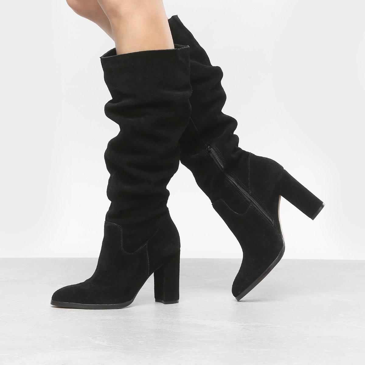 Grosso Feminina Shoestock Bota Couro Slouch Bota Couro Salto Preto xqYBwvHU