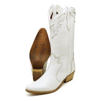 Bota Couro Texana Country Click Calçados Cano Longo Bico Fino Feminina