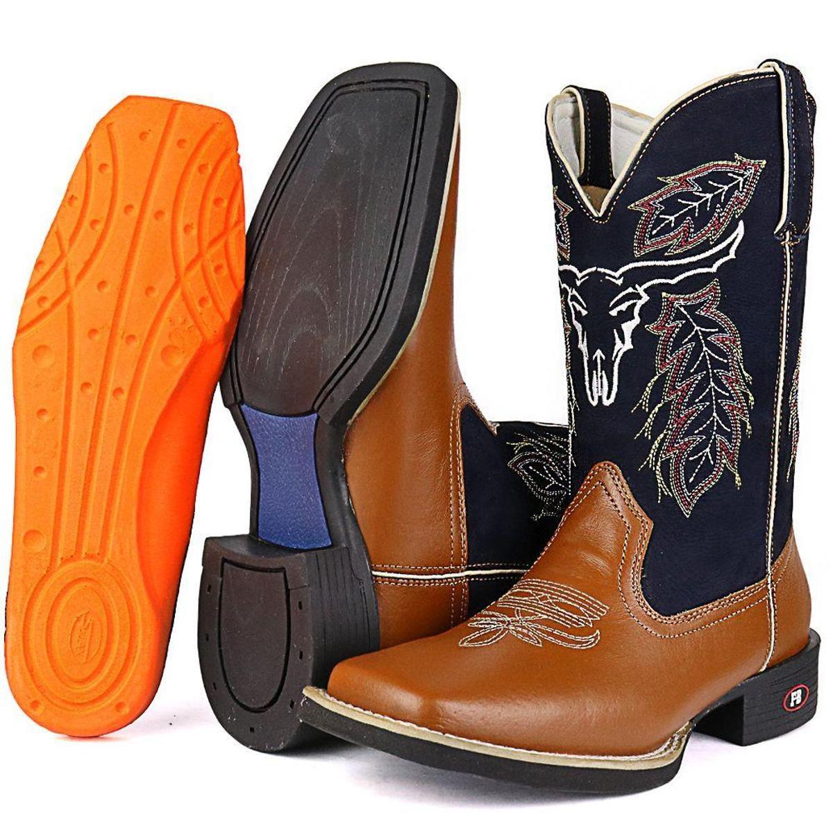 Bota Couro Texana Country SapatoFran Masculina - Marrom - Compre ... d82b1c800b6