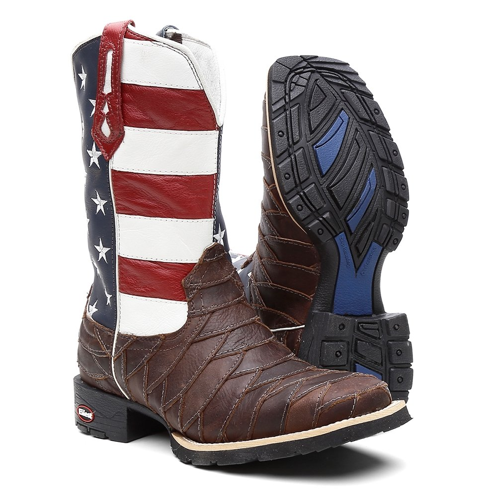 ... Bota Ellest Texana Bandeira Eua Bico Quadrado Escamada Masculina ... 6d01936bd3