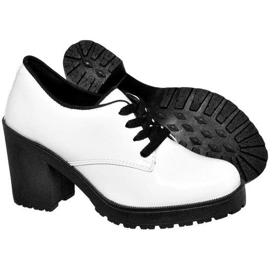Bota Ferrarello Ankle Boot Bota Salto Verniz Feminina - Branco