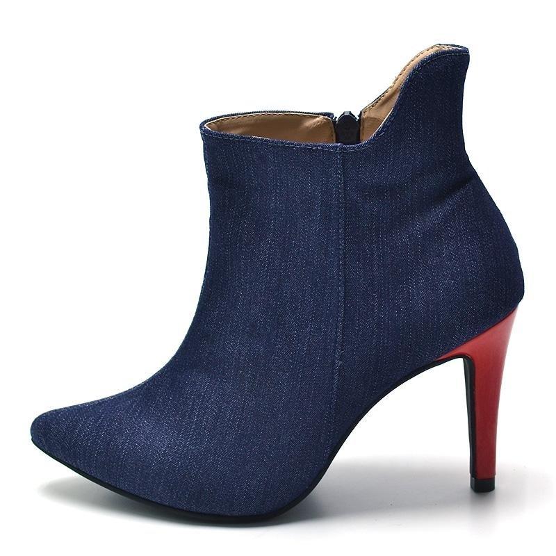 Azul Pele Jeans Bota Salto Bota Flor Feminina da Fino da Pele Flor 5F0n4w0qPY