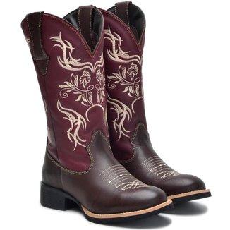 Bota Form's Texana Couro Rodeio Bico Redondo Feminina