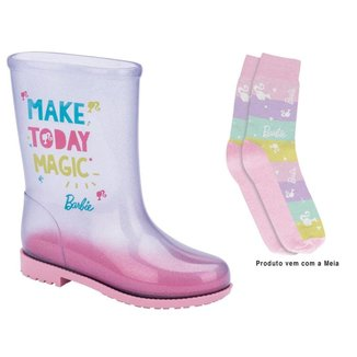 Bota Galocha Infantil Grendene Kids Barbie Fun Day + Meia Feminina