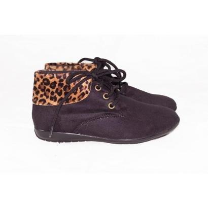 Bota Gomes Shoes Onça Em Camurça  Feminina-Feminino