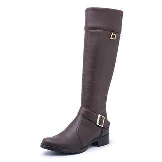 Bota Kilser Shoes Montaria Cano Longo Fivela Com Zíper Moderna Feminina