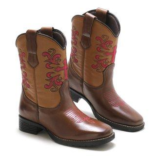Bota Lookstock Country Texana Bordada Macia Feminina