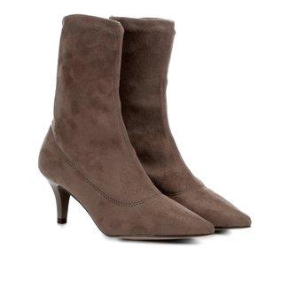 Bota Meia Cano Médio Shoestock Stretch Salto Fino Feminina