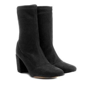 Bota Meia Cano Médio Shoestock Stretch Salto Grosso Feminina
