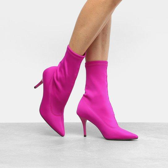 Bota Meia Cano Médio Zatz Strech Salto Fino Feminina - Pink