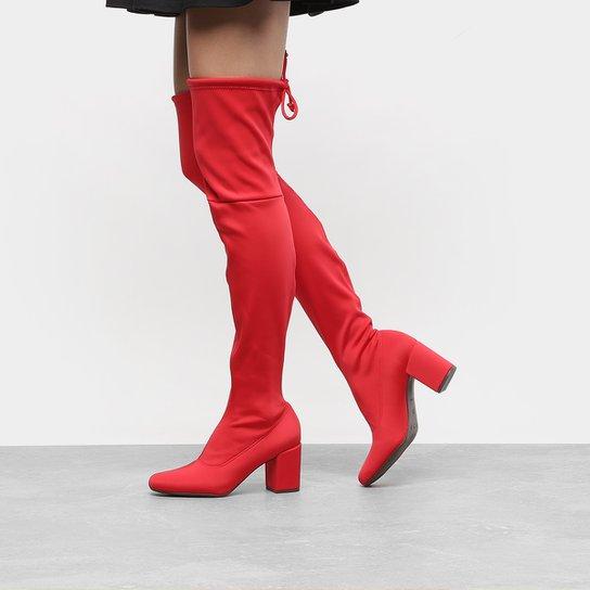 Bota Meia Over The Knee Cano Alto Zatz Strech Salto Grosso Feminina - Vermelho