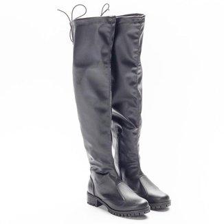 Bota Over The Knee Feminina Cano Alto Tratorada Confortável