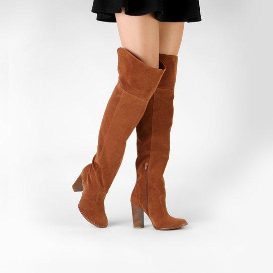 Bota Over the Knee Mixage Salto Grosso Feminina - Marrom Claro
