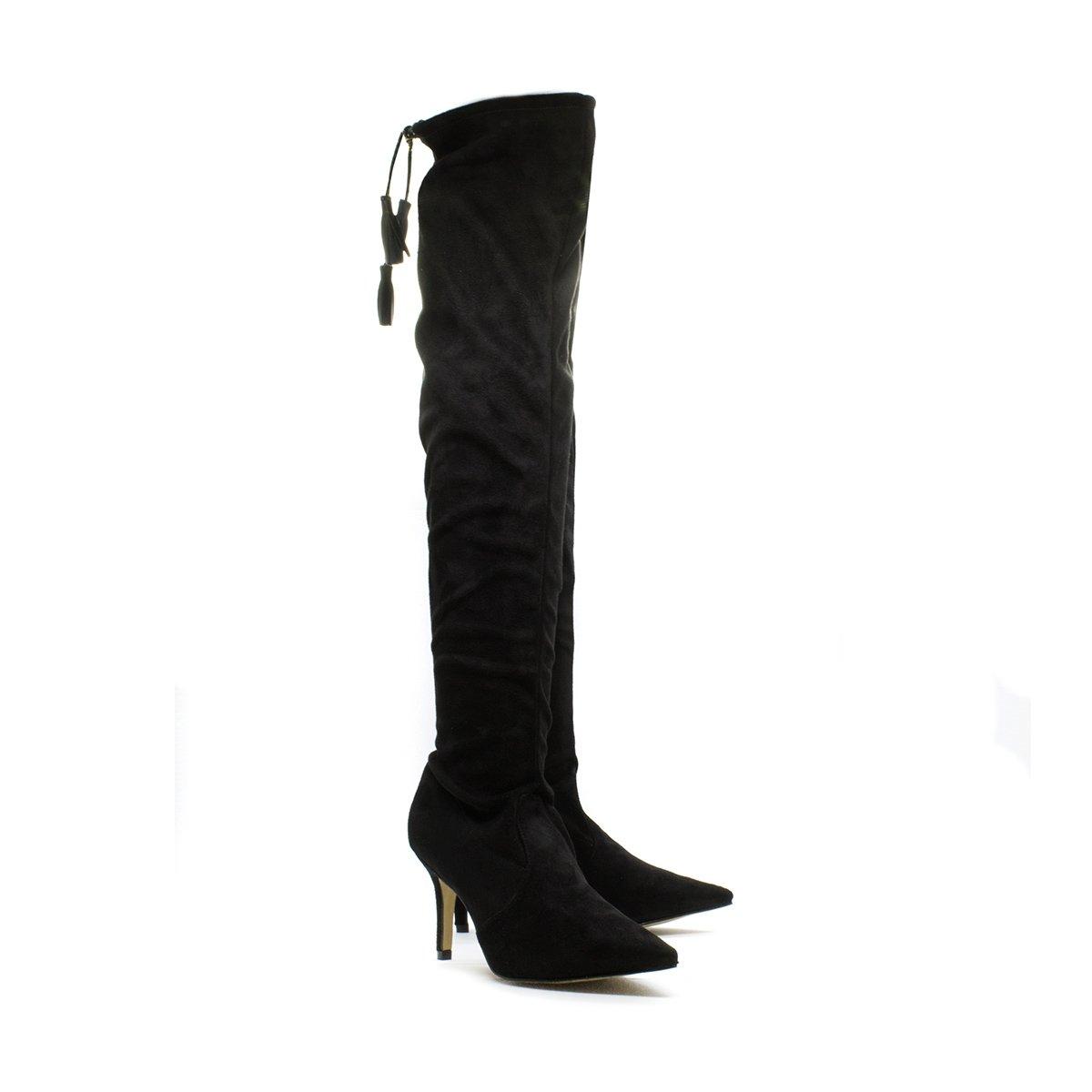 Inbox Bota Camurça Preto The Shoes Bota Over Feminina Over Knee cY0qdB1w