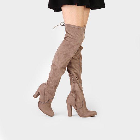 Bota Over The Knee Via Marte Salto Grosso Feminina - Marrom Claro