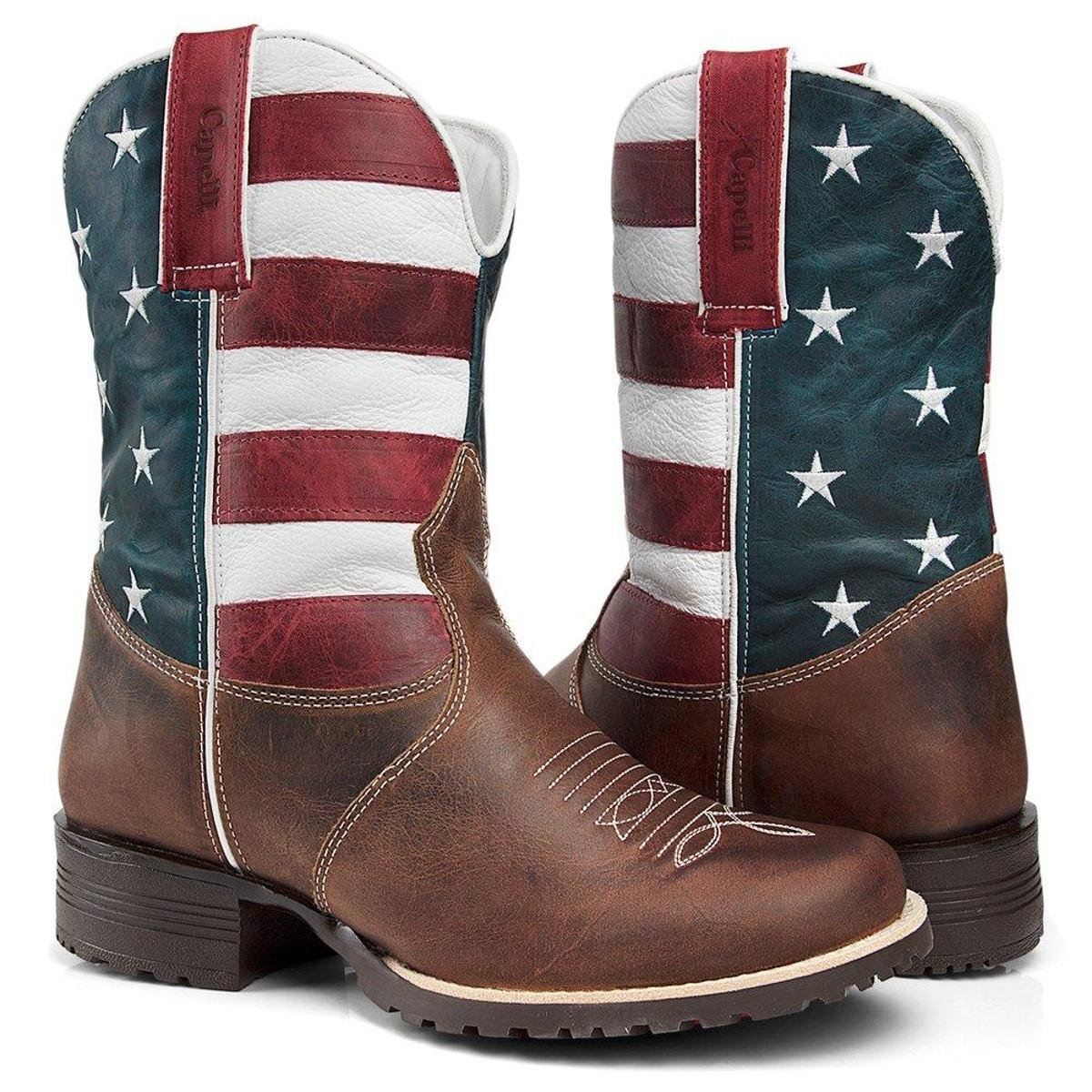 81bfd97f1e Bota Texana Country Capelli Boots Couro Bandeira USA Bico Redondo Masculina  - Marrom | Zattini