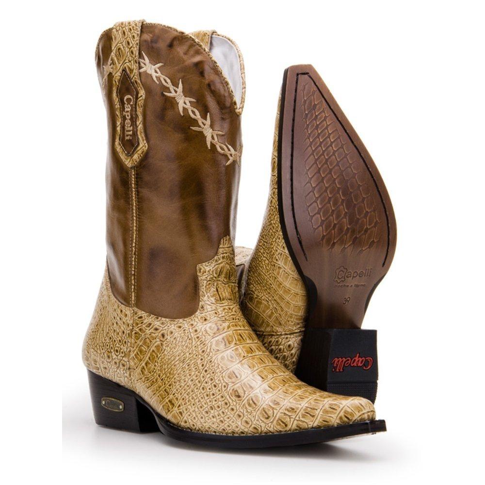 fcb956fdd710a Bota Texana Country Capelli Boots Jacaré em Couro com Bico Fino Masculina -  Compre Agora