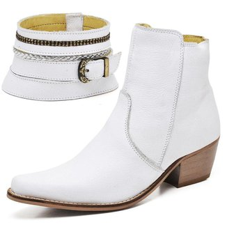 Bota Texana Country Click Calçados Couro Cano Curto Feminina
