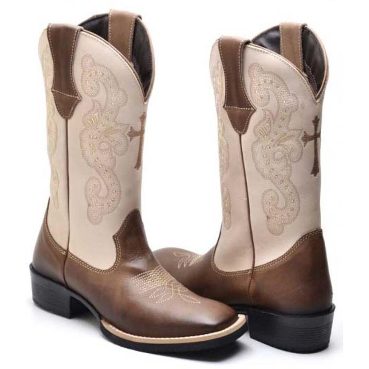 Bota Texana Country Feminina  Bota Texana Country Feminina. Bota Texana  Country Feminina - Bege+Marrom c4da6e94eb6