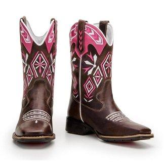 Bota Texana de Couro Legítimo Country Capelli Boots Feminina