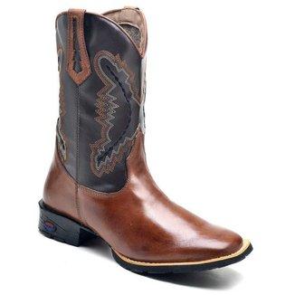 Bota Texana  DED Calçados Bico Quadrado Cano Longo Bordado Masculina