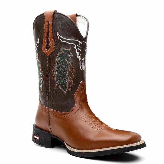 Bota Texana em Couro Dexshoes Bico Quadrado Masculina - Marrom