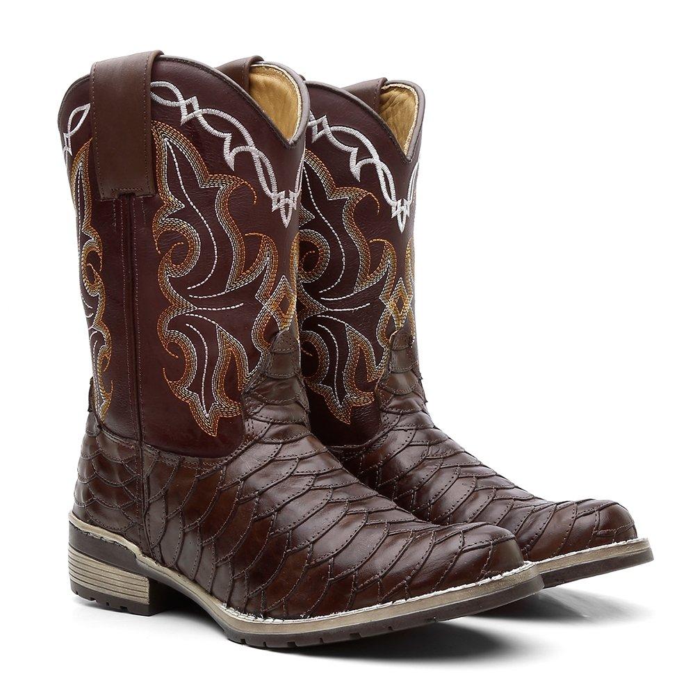 Marrom Escamada Fossil Marrom Texana Bota Redondo Bota Texana Bico wTHzF