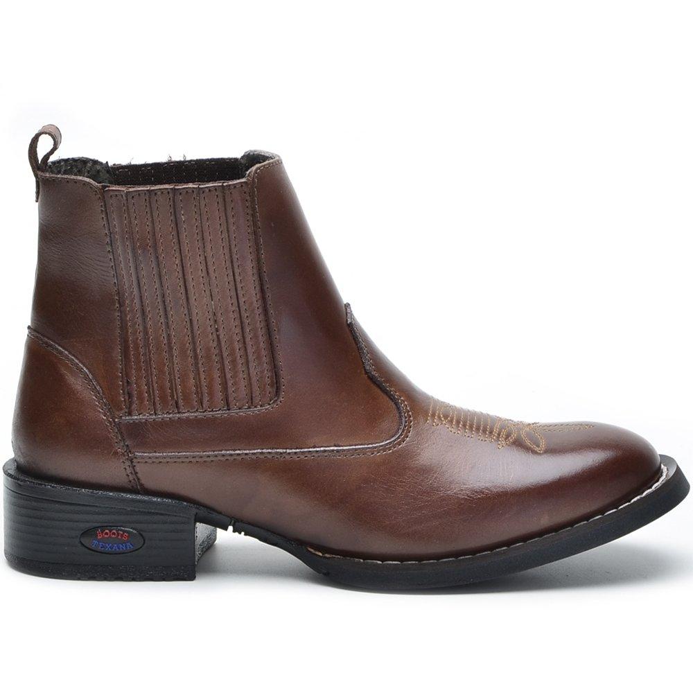 Bota Texana Masculina Bico Redondo Cano Curto - Marrom - Compre Agora  ffc5827d3e6