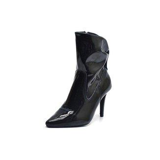 Bota Top Franca Shoes Bico Fino Cano Medio Franzida Verniz Feminina