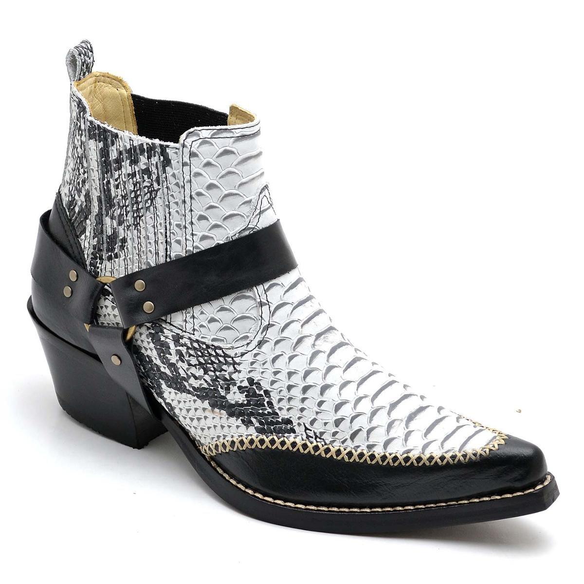 3f14d5ac7f Bota Top Franca Shoes Country Bico Fino Anaconda Masculina - Preto e Branco