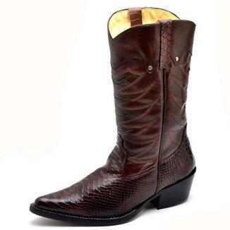 Bota Top Franca Shoes Country Bico Fino Cano Alto Masculina