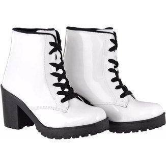 Bota Verniz CR Shoes Tratorado Com Zíper Feminina