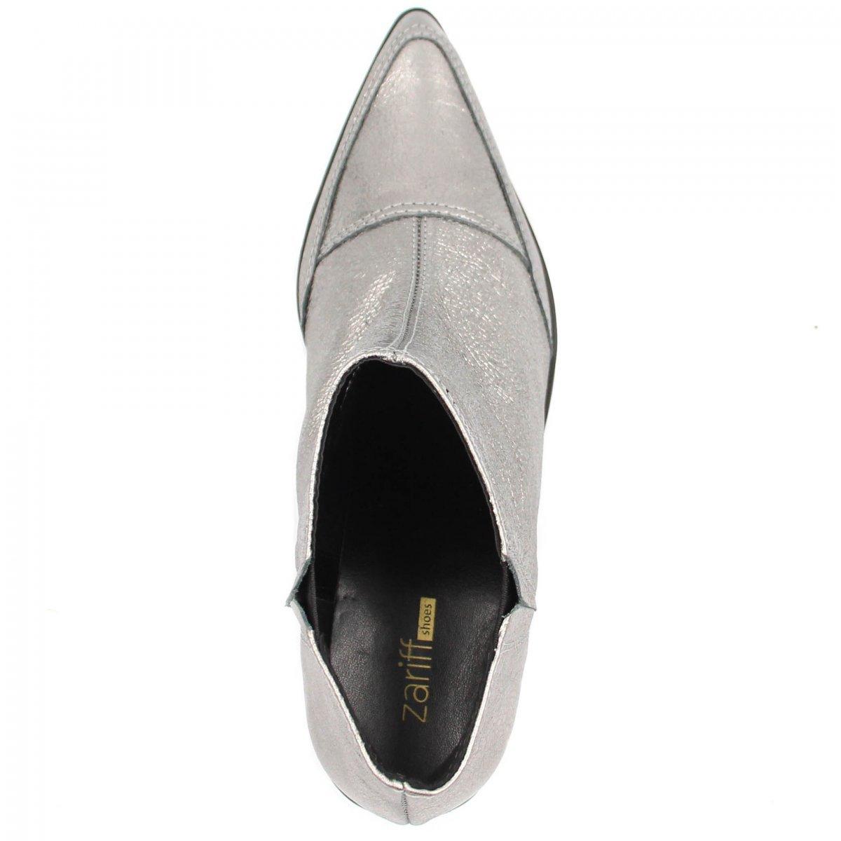 Boot Boot Feminino Ankle Bota Shoes Prata Ankle Bota Zariff Shoes Couro Zariff 5RW8HqW