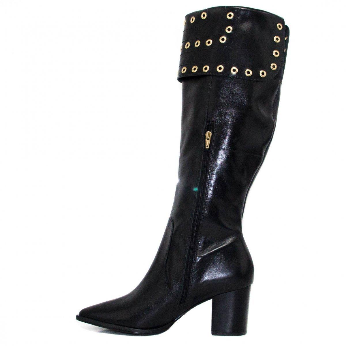 Bota Zariff Shoes Montaria em Couro Zíper Feminina - Preto
