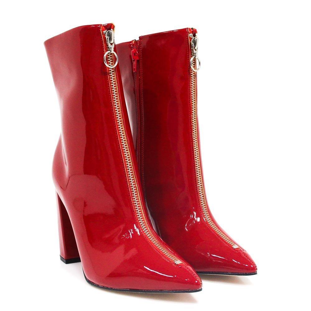 Zariff Shoes Feminino Shoes Zíper Bota Vermelho Bota Zariff Skinny 55rwOzx0q